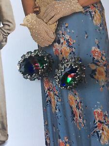 Vintage Art Deco Clip on Earring Rainbow iris glass rhinestones