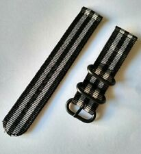 20mm Nato Strap Correa Reloj Nylon Watch band Gris y negro Grey and black
