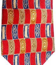 "Countess Mara Men's Silk Tie 57"" X 4"" Red/Navy/Gold/Brown Geometic"