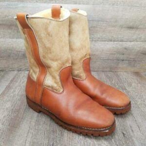 Gokeys Men's Snow Winter Boots Tan Beige Pull On Faux Fur Lined Size 12
