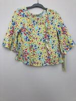 OshKosh Toddler Girl Shirt Size 18 Months Floral Bell Sleeve Ruffle Trim New