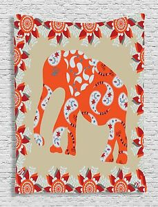 Elephant in Paisley Floral Design Wall Hanging Tapestry for Bedroom Living Room