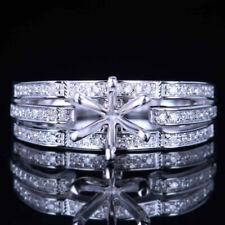 6mm Round Semi Mount Noble Engagement Wedding Diamonds Ring Solid 10K White Gold