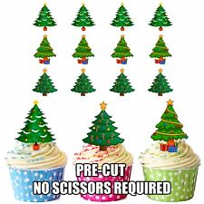 PRECUT Christmas Trees 12 Edible Cup cake Toppers Cake Decorations