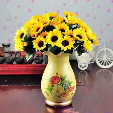 DIY Artifical Silk Flowers Bouquet Fake Flower Home Wedding Party Decor 14 Heads
