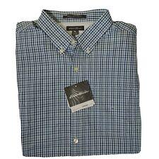 Eddie Bauer Mens Wrinkle Free Classic Fit Pinpoint Oxford Shirt XL Blue Plaid