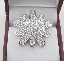 Vtg Swarovski Clear Crystal Pave Starburst Star Snowflake Pin Brooch Silver Swan