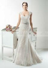 NEW Custom Sheath Column Strapless Button Back Tulle Chapel Bridal Wedding Dress