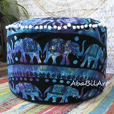 "22"" Indian Pouf Ottoman Pouf Cover Elephant Mandala Foot Stool Pouf Covers Throw"