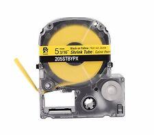 """K-Sun 205STBY Shrink Tube 3/16"""" Black on Yellow 5mm KSun Shrink Tubing 205STBYPX"""