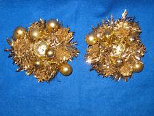 Vintage Tom Wat Original Gold Tinsel Christmas Candle Holders