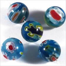 Lot de 10 Perles en Verre Millefiori 10mm Bleu