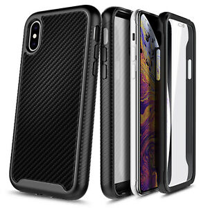 Full Body Carbon Fiber Case For iPhone XR XS Max with Built-In Screen Protector