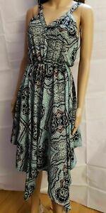 H&M Women's Asymmetrical Dress S  Print Sheer Elastic waist Side Zipper.