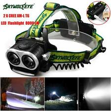 8000LM 2x XM-L T6 LED Rechargeable 18650 USB Headlamp Headlight Head Torches New