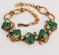 Henkel & Grosse for Christian Dior Jade Rhinestone Brass Gold Tassel Necklace
