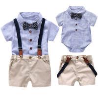 2pcs Toddler Kid Baby Boy Short Sleeve Romper Jumpsuit Shirt+Overall Shorts Set
