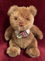 "Gund Collectors Classic Teddy Bear Plaid Christmas Bow 1990 Plush 12"""