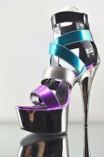 "Delight 678 Multi Color Pewter Strappy Platform Ankle Shoe 6"" Stiletto Heel 5-14"