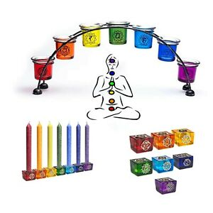 Kerzenhalter Kerzenständer 7 Chakren Set Duftkerzen Regenbogen Chakra Deko