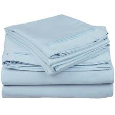 4-pc California King 100% Egyptian Cotton Baby Blue Sheet Set Triple Pleated Hem