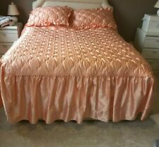 3 PIECE PEACH QUILTED BEDSPREAD SET WITH 2 PILLOW  SHAMS