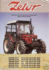 Farm Tractor Brochure - Zetor - 5211 5245 6211 6245 7211 7245 - late 80's(F2537)