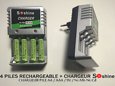 4 PILES ACCUS RECHARGEABLE AAA LR03 1.2V 1800mAh Ni-Mh + CHARGEUR SOSHINE 2016