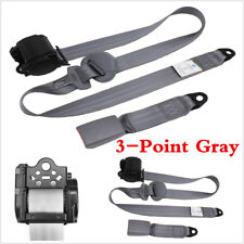 3 Point Car Front Seat Belt Buckle Kit Automatic Retractable Safety Straps Gray