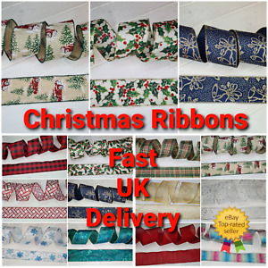 63mm Wired Edge Christmas Ribbon Crafts Decoration Glitter Bow Tree Gift Wrap UK