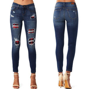Womens Ladies Plaid Ripped High Waist Jeans Skinny Stretch Denim Trousers Pants