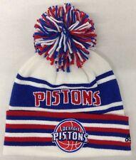 NBA Detroit Pistons Adidas Cuffed Pom Knit Hat Cap Beanie Style #KX05Z NEW