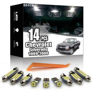 14x White LED Interior Light Kit For Chevrolet Silverado 1500 2500 1999-2006