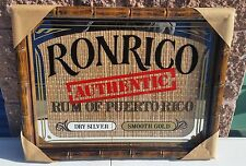 Ronrico Authentic Rum of Puerto Rico Bamboo Bar Mirror Man Cave Brand New !
