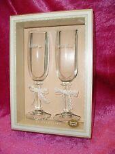 "NIB, ""2 LOVE REMEMBRANCE WEDDING TOASTING BRIDE & GROOM GLASSES"", by HEARTLINE"