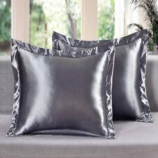 2 Piece Satin Euro Shams Solid Gray Cover Case Pillow AT Linen Plus