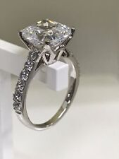 White Cushion Cut Diamond 4.00CT Solitaire Engagement Ring 14K White Gold Over