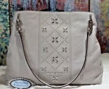 NWT Michael Kors LEIGHTON LARGE Stud Shoulder Tote Bag PEARL GREY Leather $428