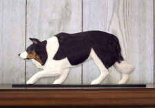Border Collie Dog Figurine Sign Plaque Display Wall Decoration Black Tri