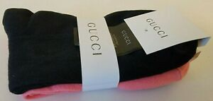 Gucci Ankle Socks Two Pairs Black Pink With Red and White Stripes Made in Italy