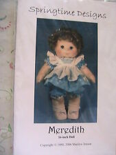 "MEREDITH by Marilyn Jensen RARE & 1988 OOP 16"" adorable CLOTH  ART DOLL PATTERN"
