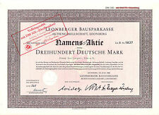 Leonberger Bausparkasse hist. DM Aktie 1956 Leonberg Wüstenrot W & W Württemberg