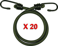 """20 PACK 30"""" INCH ELASTIC BUNGEE 76CM BUNGEES CORDS CORD HEAVY DUTY OLIVE ROPE"""