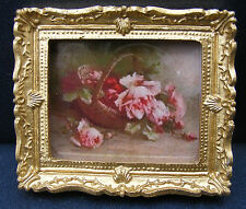 1:12 Scale Framed Picture Print Of A Basket Of Rose Flowers Tumdee Dolls House