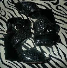 ALEXANDER WANG SIZE 41 BLACK LEATHER WEDGE ANKLE STRAP $600 SHOES SANDALS 10