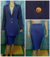St. John Collection Blue Jacket Skirt L 14 12 2pc Suit Gold Buttons Collared