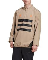 Adidas Mens Activewear Jacket Beige Size XL Woven Stripe Soccer Pullover $60 155
