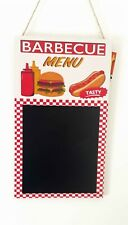 Barbecue Menu Notice Memo Chalk Black Board Kitchen Hot Dog Burger Tasty New