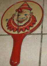 50s VINTAGE J.CHEIN TIN LITHO CLOWN PADDLE NOISE MAKER OLD PAPER DRUM STYLE