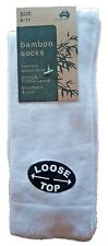 3 Pairs Sz 6-11 Australian Made Ladies White Bamboo Loose Top Dress Socks